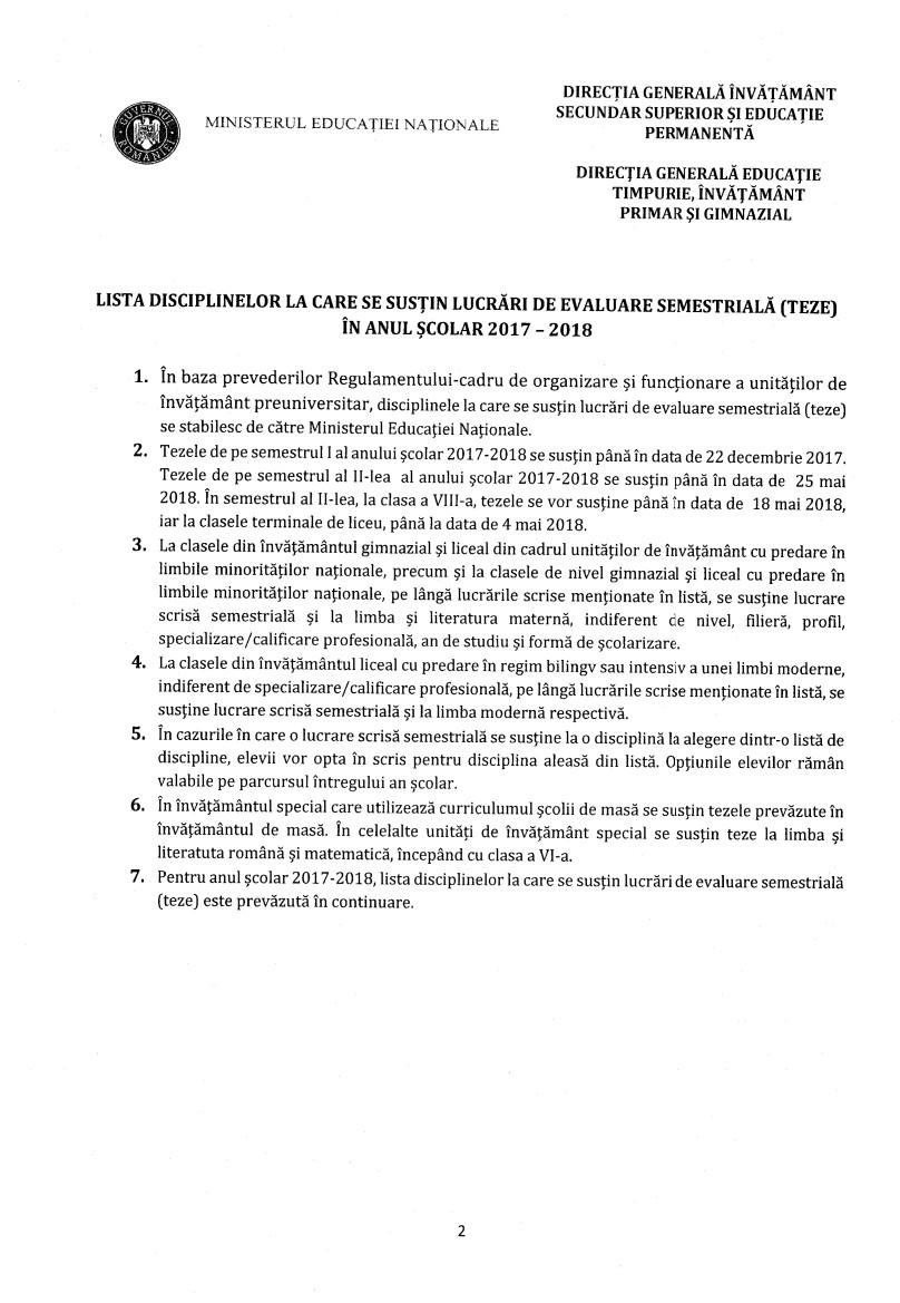 Lista disciplinelor la care se susțin lucrări semestriale în 2017-2018, laclasă.ro