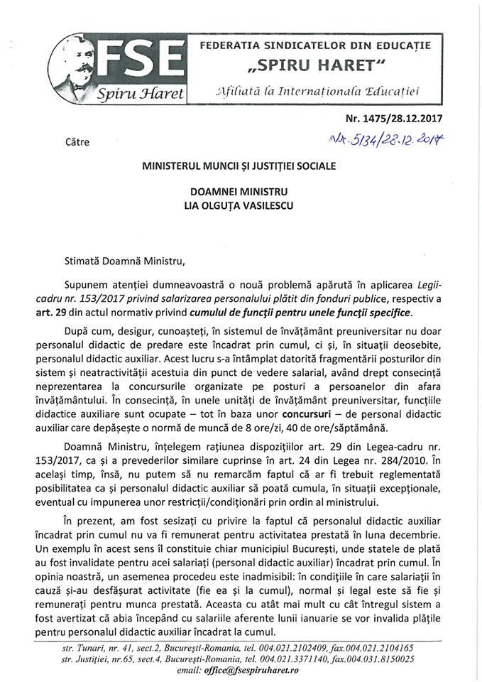 """Adresa FSE """"Spiru Haret"""" către MMJS, laclasă.ro"""