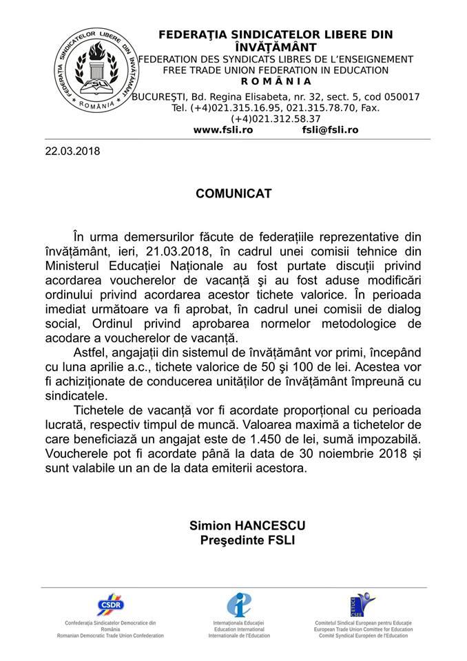 Informare FSLI, vouchere, laclasă.ro